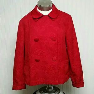 Talbots Cherry Red Brocade Jacket